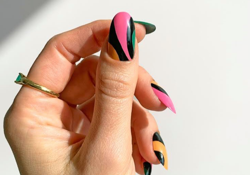 pink and black manicure design