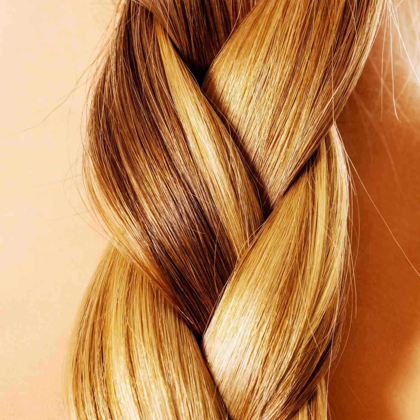 closeup of blonde braided hair