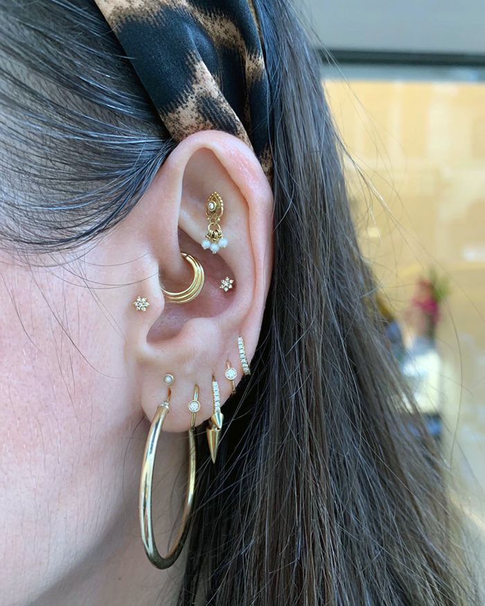 Conch Piercing Close-Up