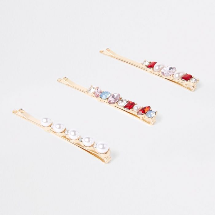 River Island Gold Tone Pearl Hair Clips