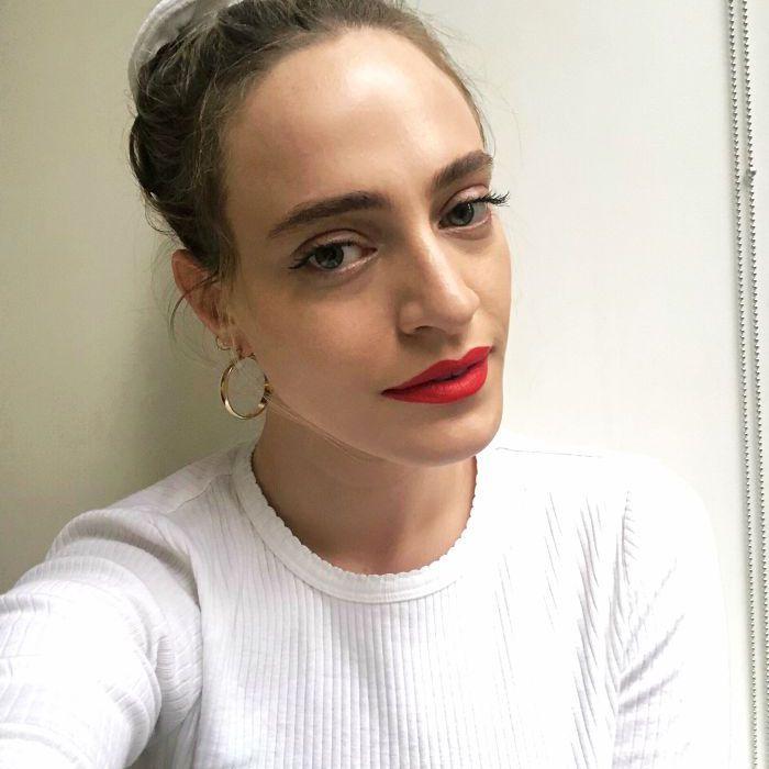 Hallie wearing Milk Makeup's 'Name Drop' Lipstick