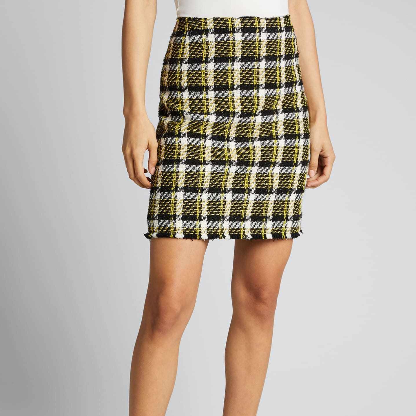Akris Punto Checked Tweed Pencil Skirt