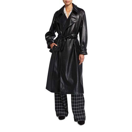 Nevada Draped Faux-Leather Midi Coat ($695)
