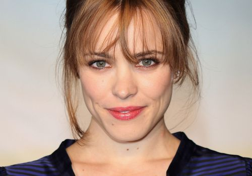 Rachel McAdams with updo and bangs