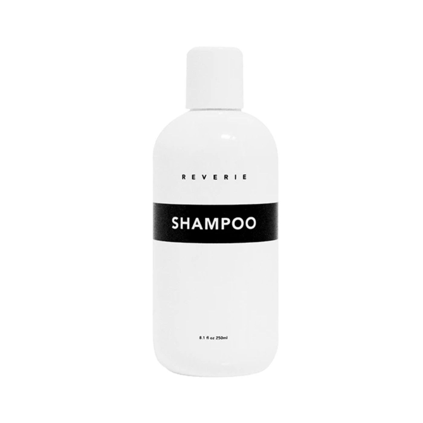 White bottle of shampoo with a black label on a white background.