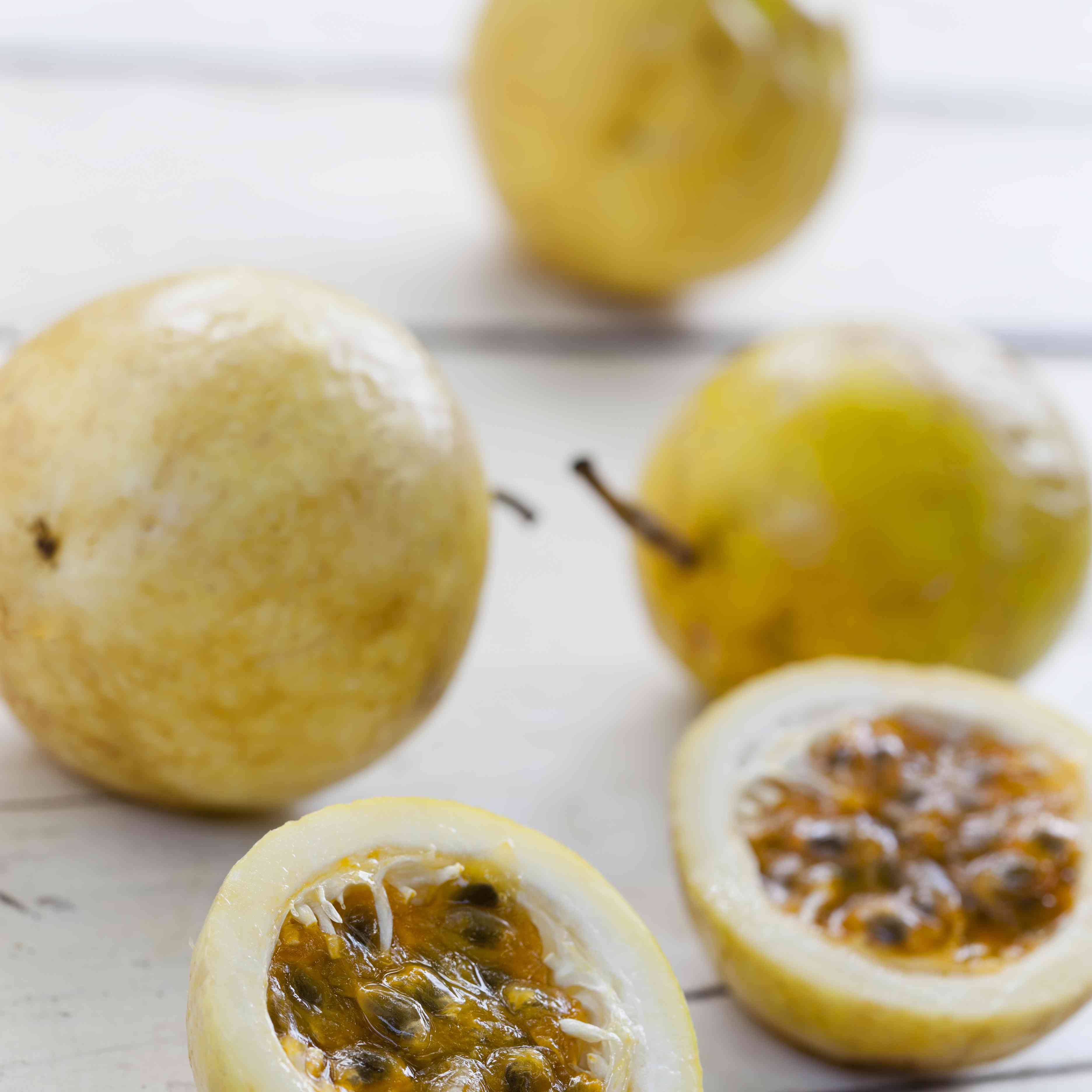 Passion fruit on a table.