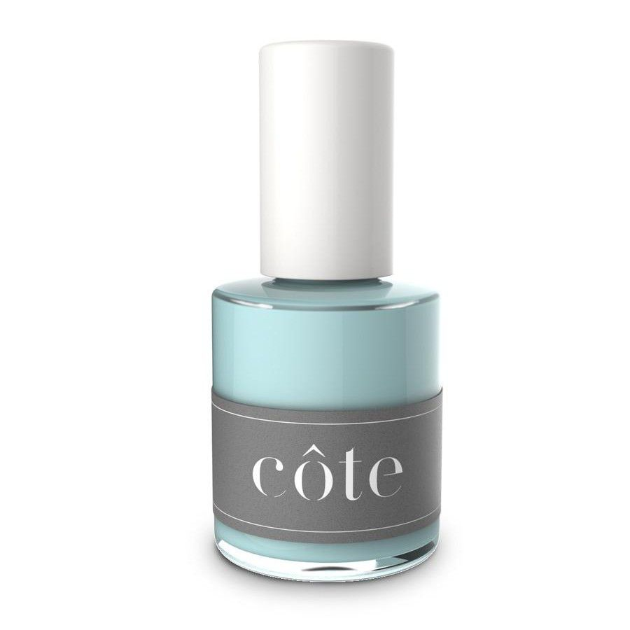 Baby blue bottle of nail polish with a gray label.