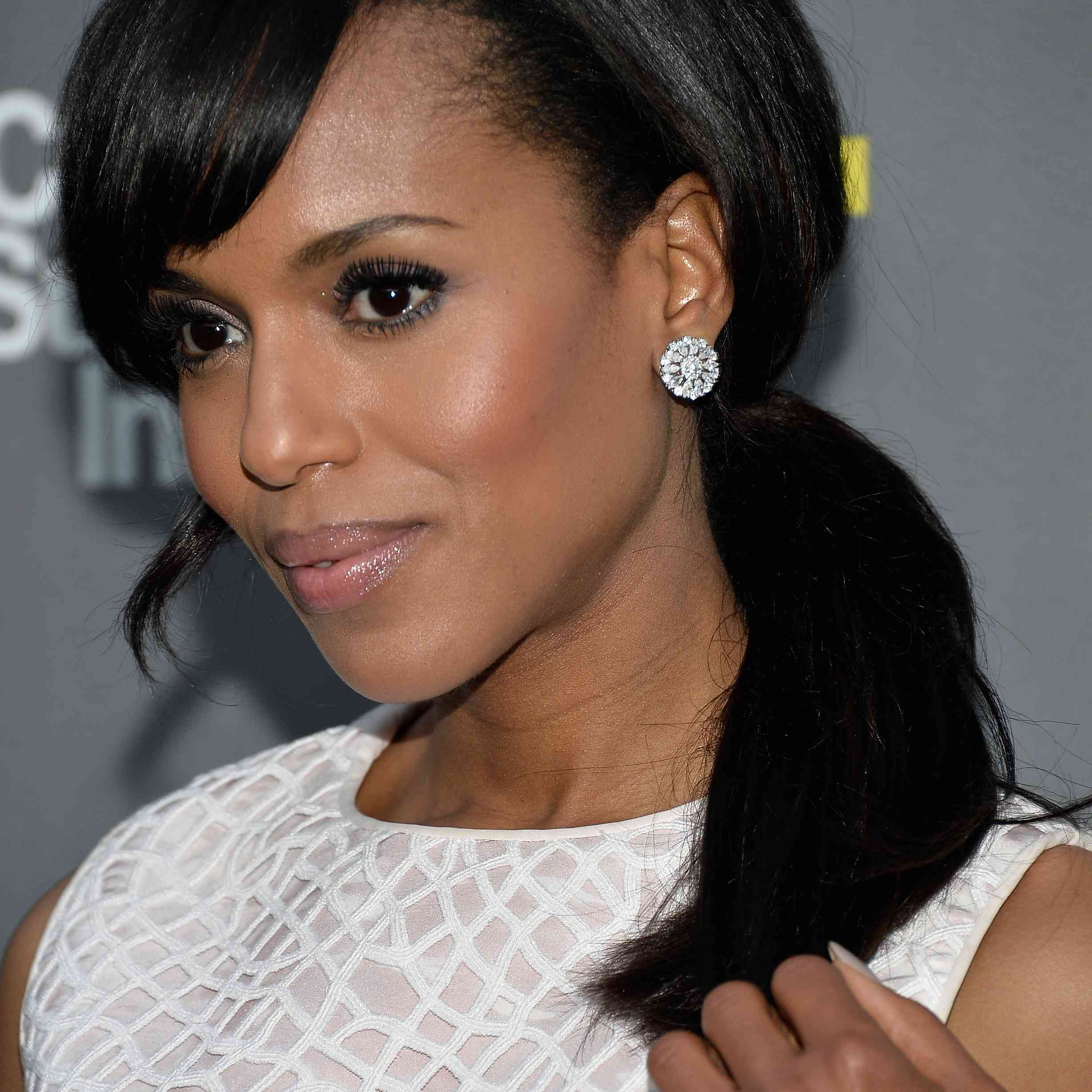 Kerry Washington with a low side ponytail
