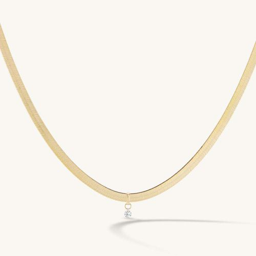 Herringbone Chain with Pierced Diamond ($1,200)