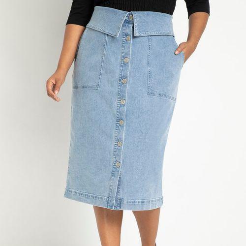 Eloquii Button Front Denim Skirt with Foldover Waist