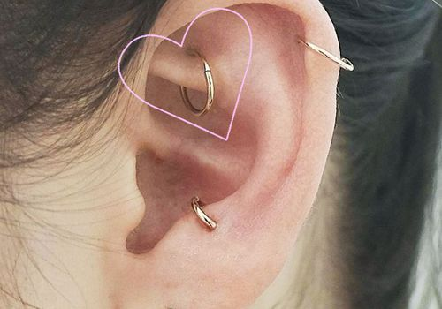 Rook piercing with a hoop