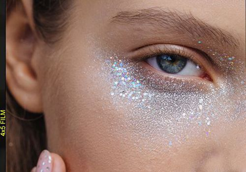 woman with glitter under eyes