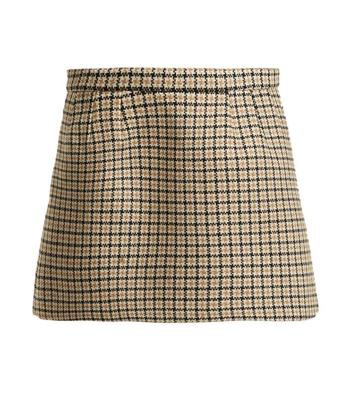 Redvalentino - Houndstooth Wool Blend Mini Skirt - Womens - Camel