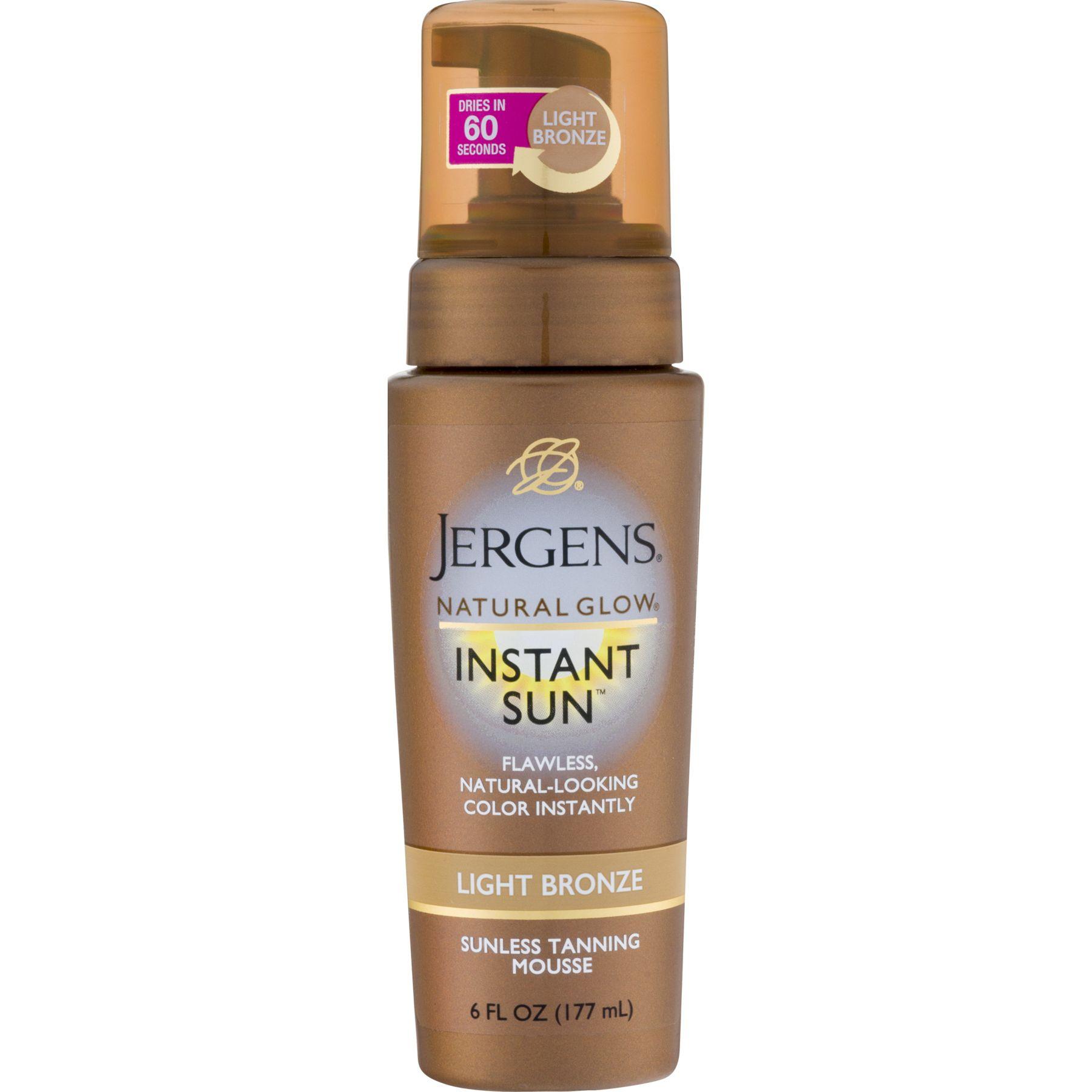 Jergens Natural Glow Instant Sun Light Bronze Sunless Tanning Mousse