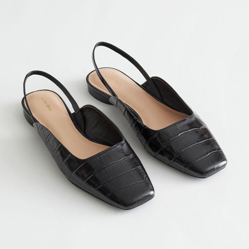 Croc Embossed Leather Ballerina Flats