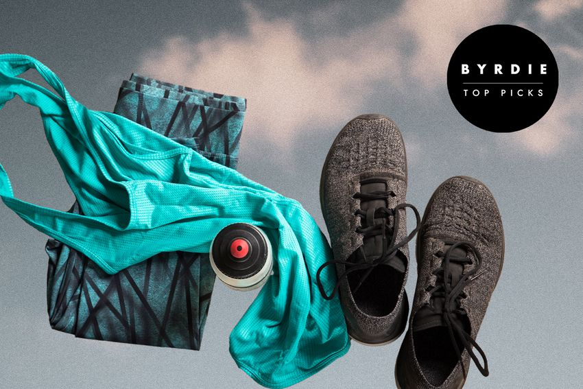 Photo composite of athletic clothes, a water bottle, and sneakers