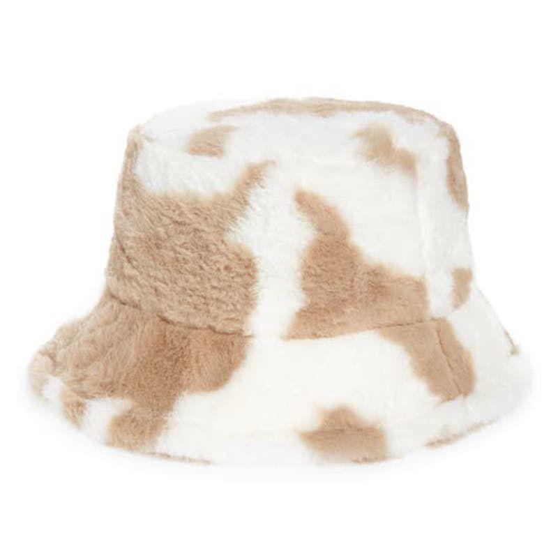 Rainbow Unicorn Birthday Surprise Cow Print Fleece Bucket Hat