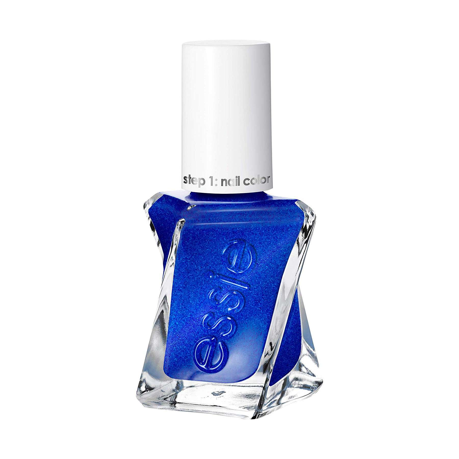 Twisted bottle of bright blue nail polish with a white lid.