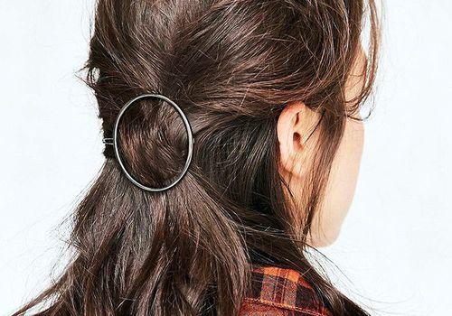 brunette hair in a hair clip