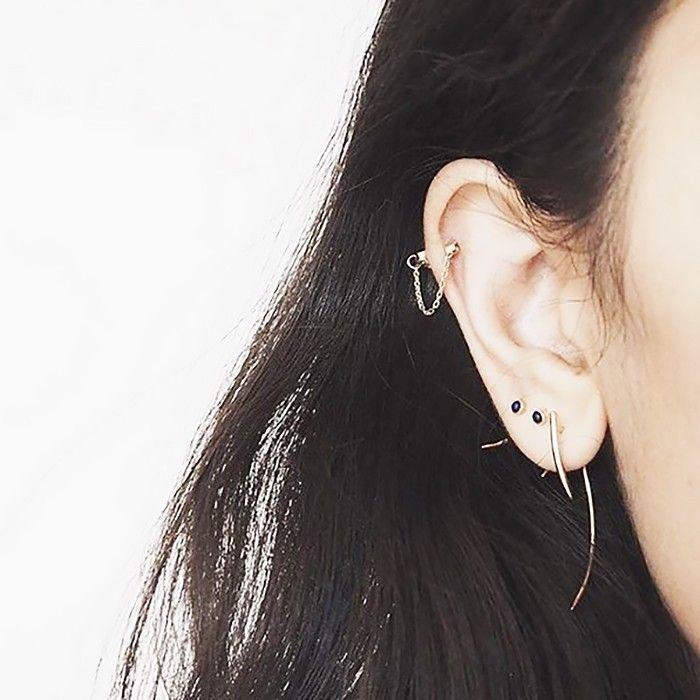 Dainty studs and hoop earrings