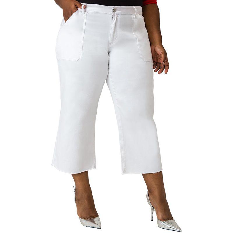 Briona Stretch White Denim Crop Jean