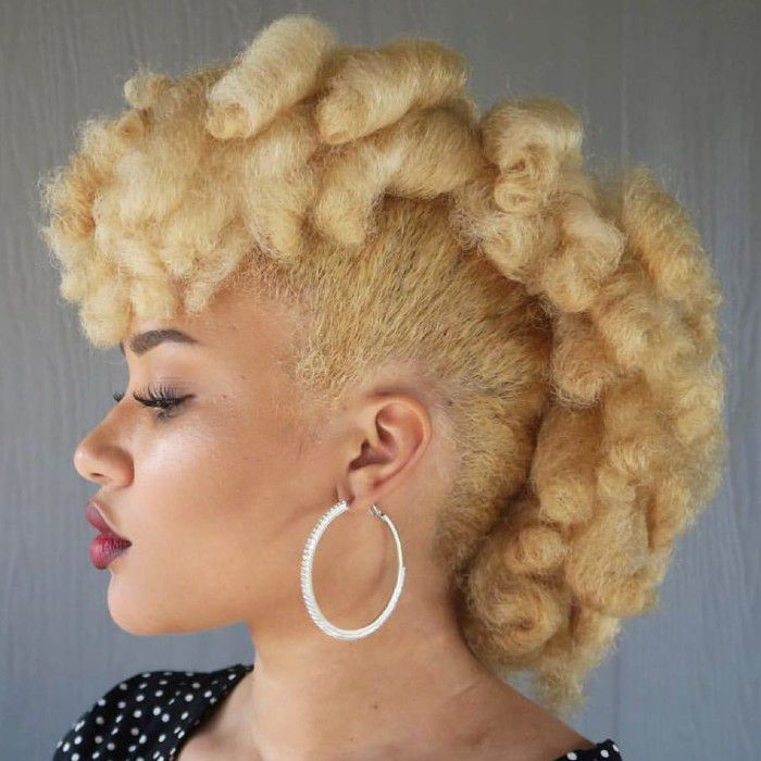 Curly blonde fauxhawk
