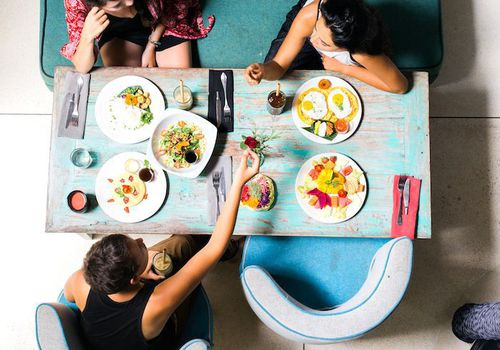 overhead shot of people eating at a table