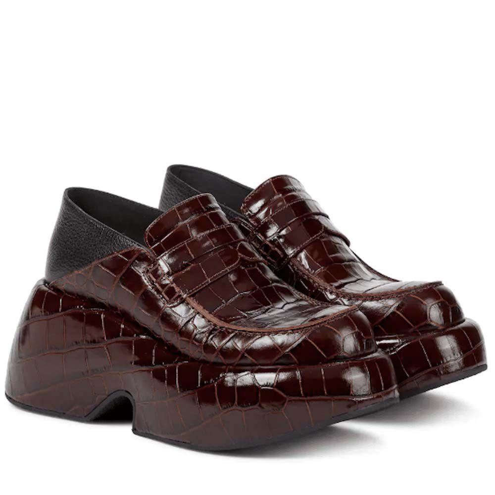 Croc-Effect Leather Platform Loafers