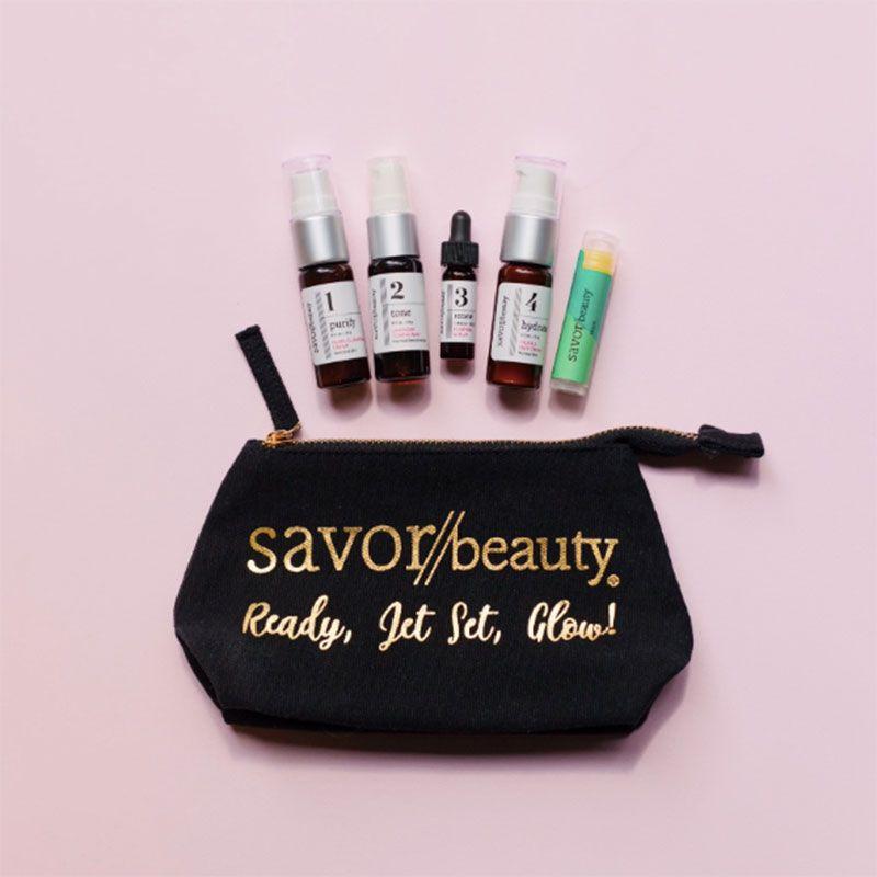savor beauty travel skincare kit