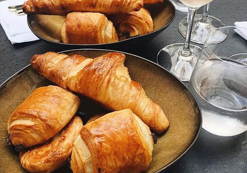 croissants and rose