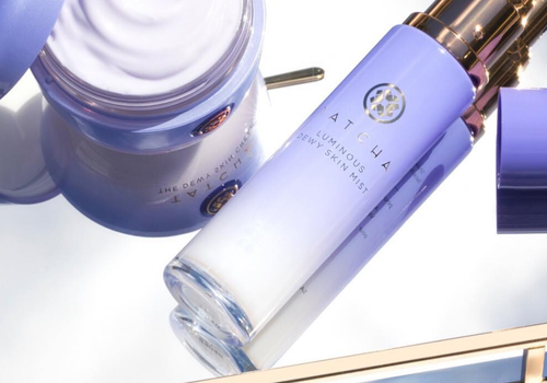 tatcha beauty products on mirrored tray