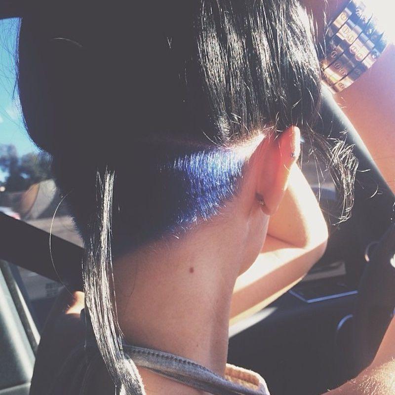 Kylie Jenner with blue undercut