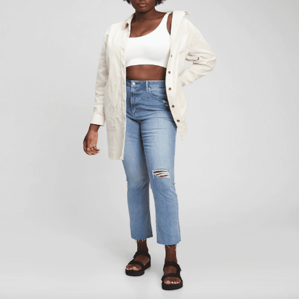 Gap Sky High Rise Distressed Vintage Slim Jeans with Washwell