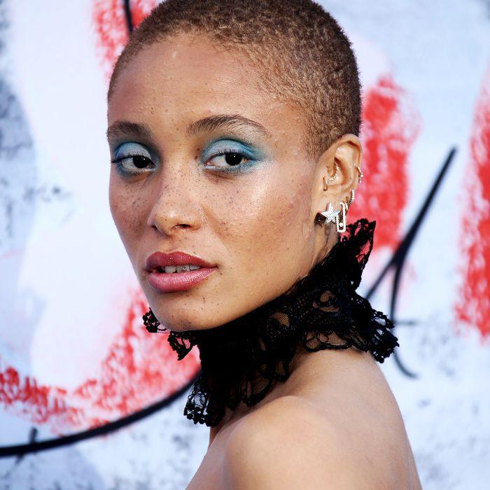 Adwoa Aboa close shave with blue eyeshadow