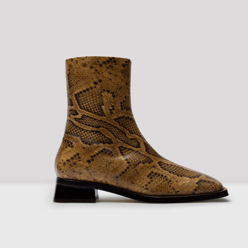 Aroha Snake Leather Ankle Boots