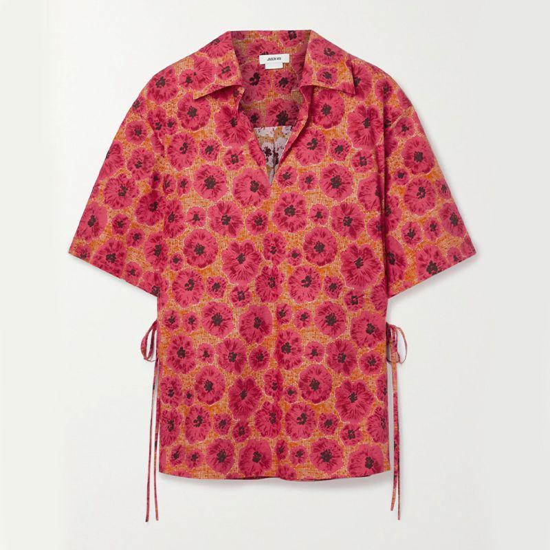 Tie-Detailed Floral-Print Cotton-Poplin Top