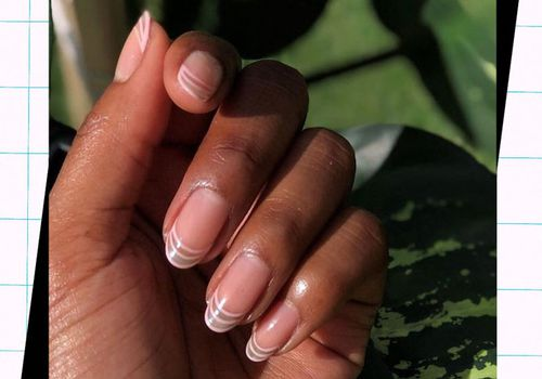 woman with clear nail design