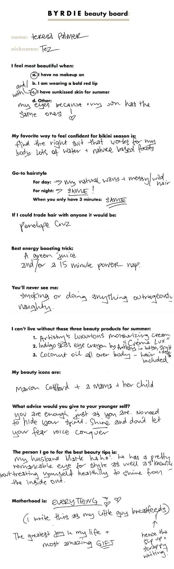 Teresa Palmer beauty board questionnaire filled out