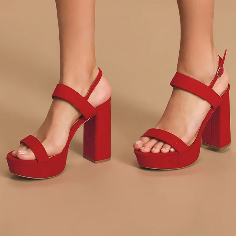 Acee Red Suede Platform Heels