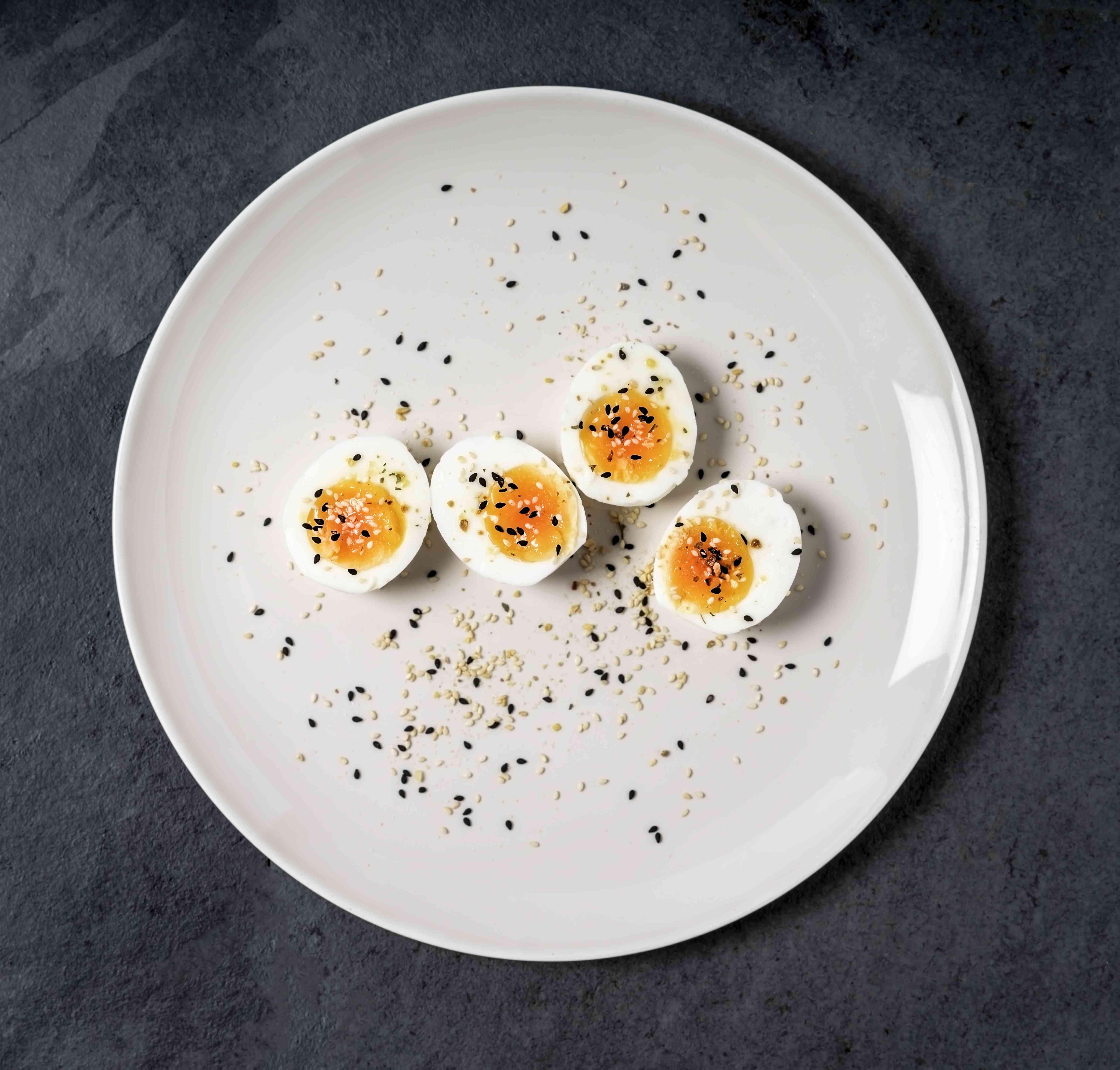 hard boiled eggs on plate