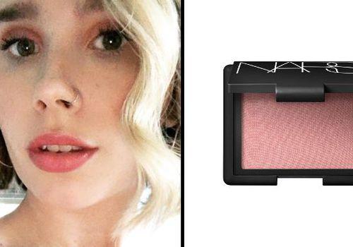 woman wearing nars blush on her eyes next to product shot
