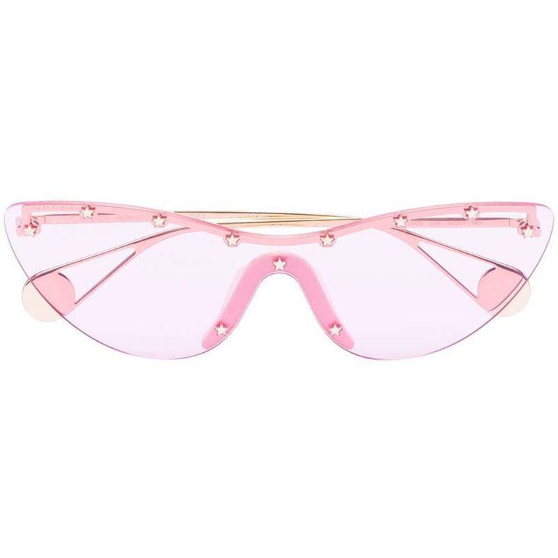 Cat-Eye Stud-Embellished Mask Sunglasses