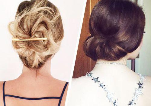 two women wearing different bun styles
