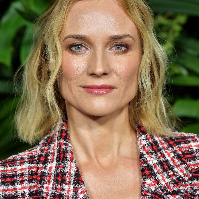 Diane Kruger textured blonde lob