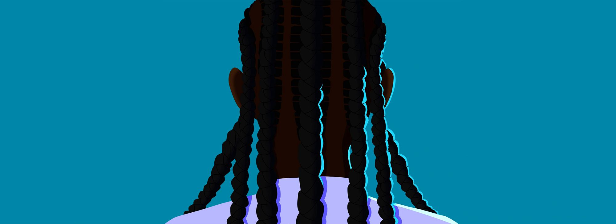 Illustration of person with cornrows