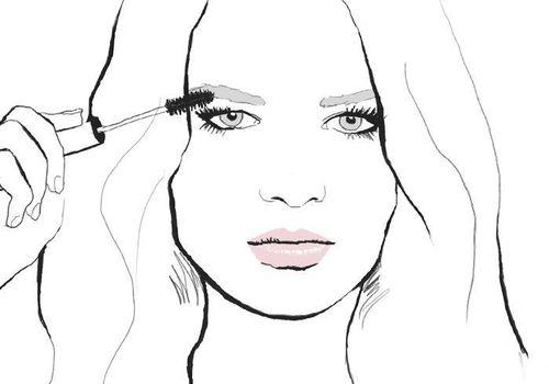 illustration of woman applying makeup