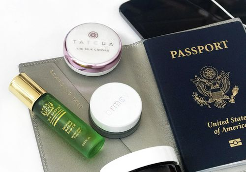 beauty products and passport