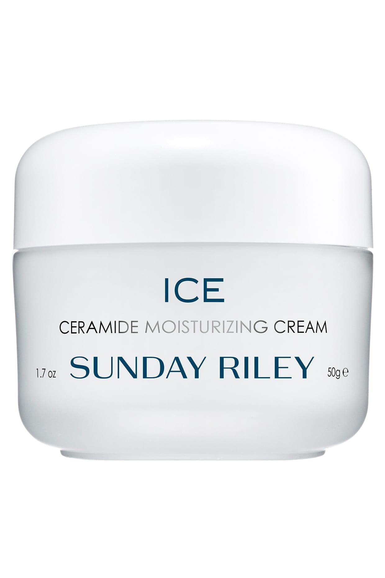 ice ceramide moisturizing cream, all white packaging with blue and silver writing on the tub