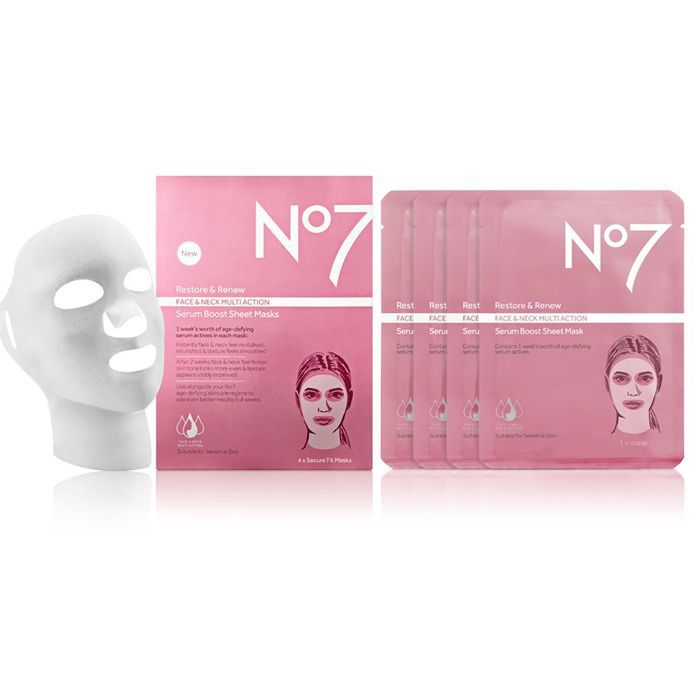 No7 Restore and Renew Face and Neck Multi-Action Serum Boost Sheet Masks