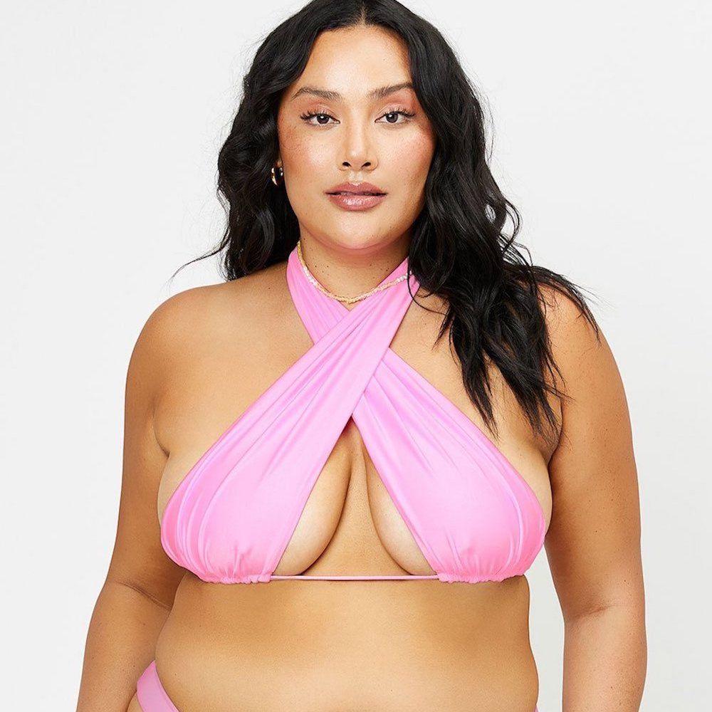 Frankies Bikinis Bash Satin Wrap Bikini Top- '90s Pink